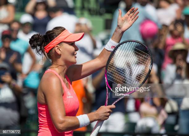 Agniezka Radwanska from Poland celebrates her victory against Simona Halep from Romania during her third round match at the Miami Open on March 24...