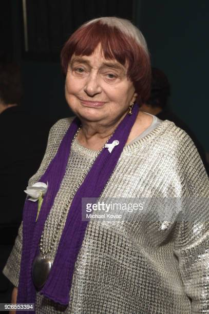 Agnès Varda celebrates with Jane Walker by Johnnie Walker at the 11th Annual Women In Film PreOscar Cocktail Party at Crustacean on March 2 2018 in...