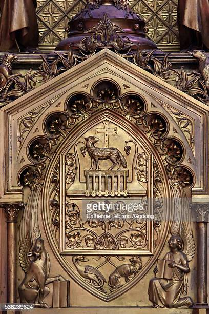 Agnus Dei. Central part of the altar designed by Viollet-le-Duc and directed by Poussielgue Rusand. 1866. Chapel St. Jacques le Majeur (1240), called the Sacred Heart (1866). Amiens Cathedral.