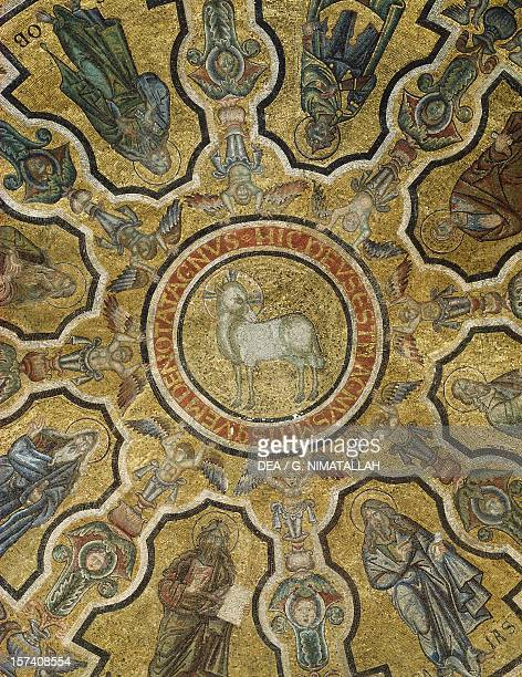 Agnus Dei detail from a mosaic in the apse Baptistery of San Giovanni Battista Florence Italy 13th century