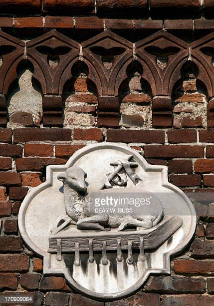 Agnus Dei detail of the sculptural decoration of Monza Cathedral Lombardy Italy
