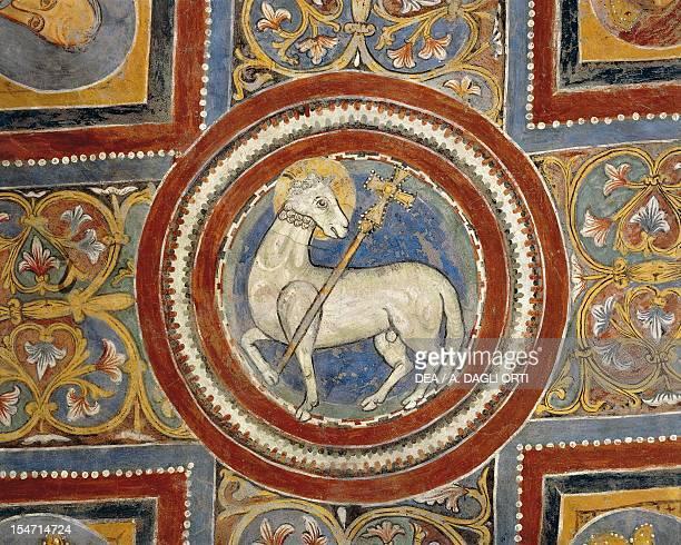 Agnus Dei early 13th century fresco Crypt of St Mary Cathedral Anagni Lazio Italy 13th century