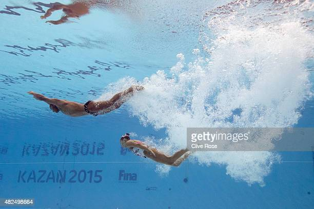 AGokce Akgun and Yagmur Demircan of Turkey compete in the Mixed Duet Free Synchronised Swimming Final on day six of the 16th FINA World Championships...