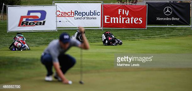 Agolfer lines up a putt on the 16th green during day two of the DD Real Czech Masters at Albatross Golf Resort on August 28 2015 in Prague Czech...