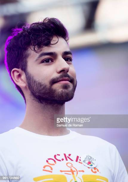 Agoney during the opening speech at the Madrid LGBT pride on July 4 2018 in Madrid Spain