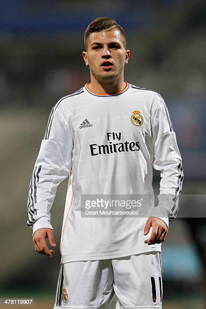Agoney Gonzalez of Real Madrid in action during the UEFA Youth League Quarter Final match between Paris SaintGermain FC and Real Madrid at Stade...