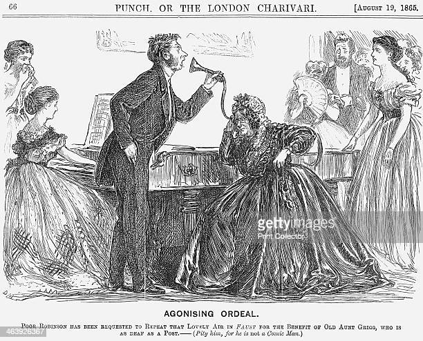 'Agonising Ordeal' 1865 Mr Robinson gamely howls the 'lovely aria' down old Aunt Grigg's ear trumpet to the accompaniment of the young lady on the...