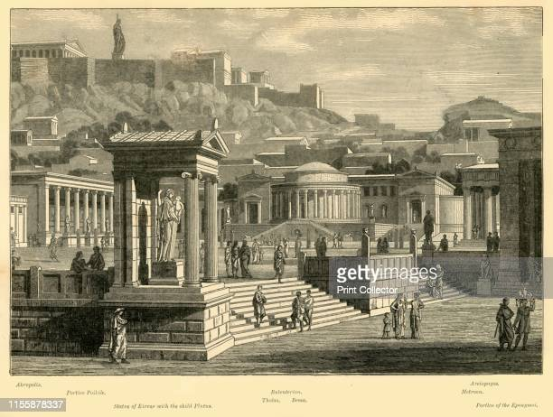 Agora of Athens ' 1890 The ancient Agora built from 6th century BC was initially a place for commerce or public assembly From Cassell's Illustrated...