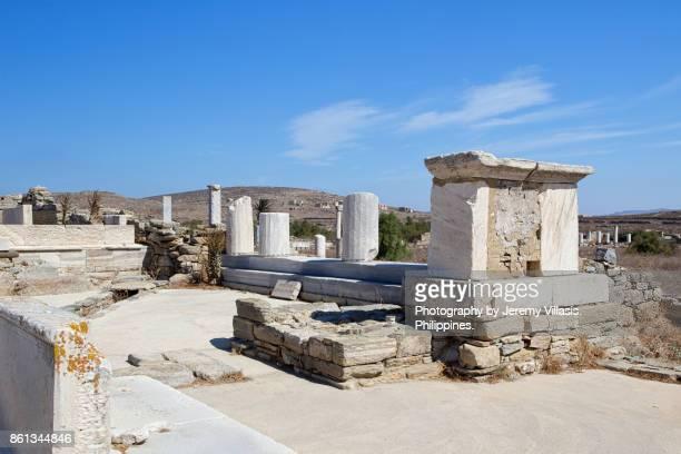 Agora of the Italians, Delos, Cyclades Islands, Southern Aegean, Greece