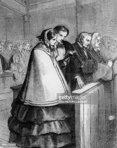 Agostina and Sommervieux in church illustration from At the Sign of the Cat and Racket by Honore de Balzac French edition 19th century