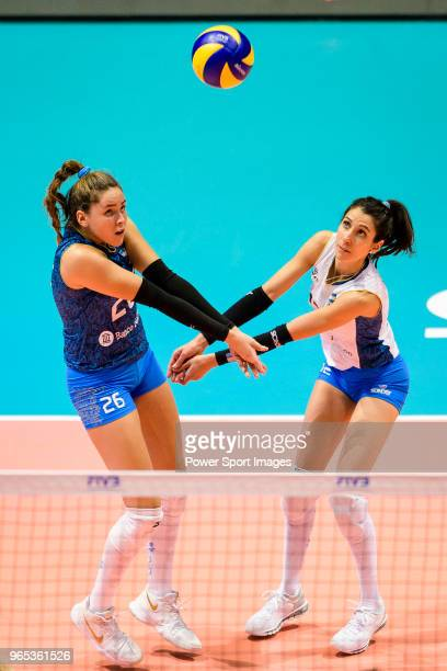 Agostina Denisse Soria and Tatiana Soledad Rizzo of Argentina in action during the FIVB Volleyball Nations League Hong Kong match between China and...