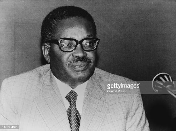 Agostinho Neto leader of the People's Movement for the Liberation of Angola during a press conference in Brussels Belgium 1975