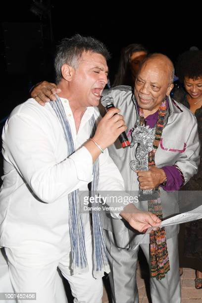 Agostino Penna and Quincy Jones attend 2018 Ischia Global Film Music Fest on July 18 2018 in Ischia Italy