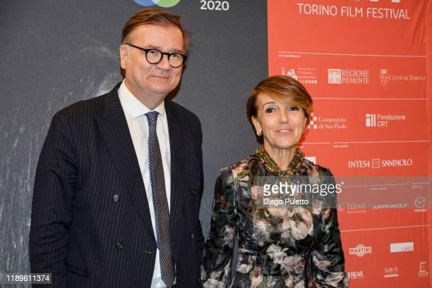 Agostino Re Rebaudengo and Patrizia Sandretto Re Rebaudengo attend the Opening Ceremony for the 37th Torino Film Festival on November 22, 2019 in...