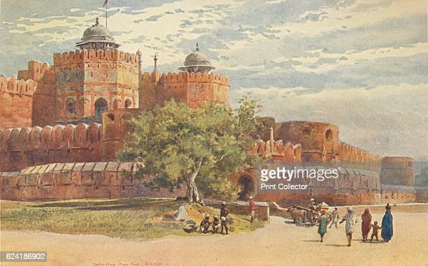 Agra Fort - Outside the Delhi Gate', c1880 . From The High-Road of Empire, by A. H. Hallam Murray. [John Murray, Ablemarle Street, London, 1905]....