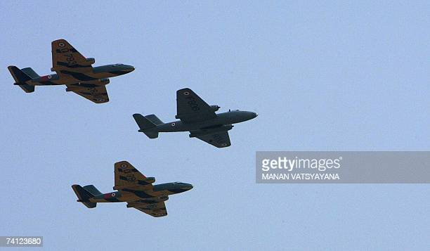 Indian Air Force Canberra jet bombers take part in their last flight during a ceremony to phaseout the Canberra bombers at the Air Force station in...