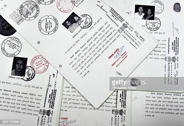 Agreement Copies of the residents of Sane Guruji Nagar displayed by the builder in his office at his Dhobi Ghat office on November 24 2016 in Mumbai...