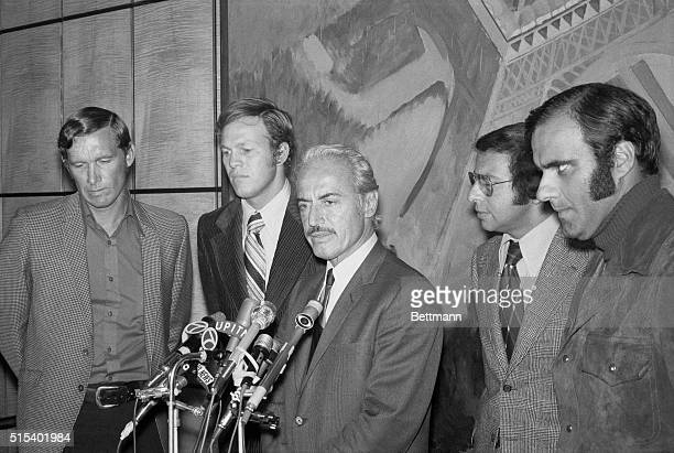 Agreement Ends Baseball Strike. New York: Marvin Miller, executive director of the baseball players association, chats with players here after...
