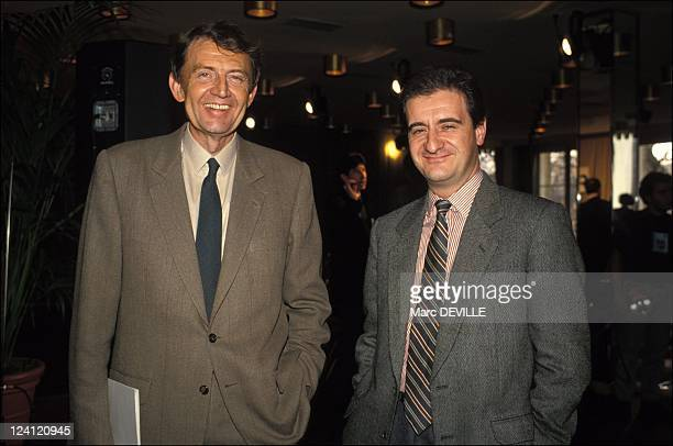 Agreement signed between TF1 and Canal Plus for the Rugby World Cup 1991 in Paris France on December 14 1989 Etienne Mougeotte and Pierre Lescure