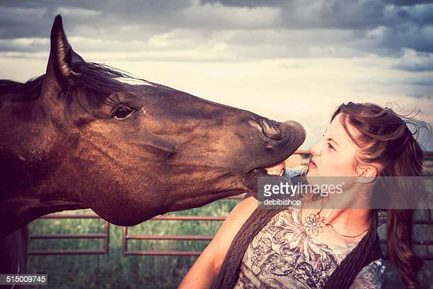 Agressive Horse Talking at Woman with Mouth Closeup