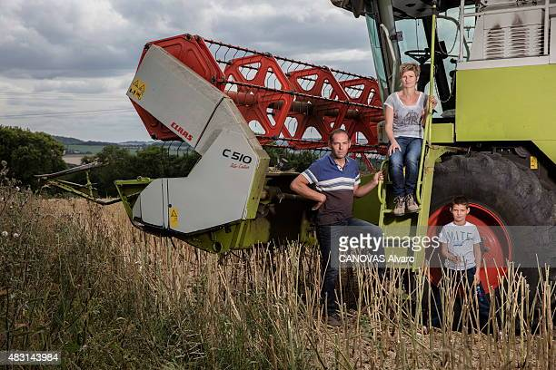 Agricultural crisis in France meeting with Leboucq farmers' family in Calvados Normandy since five generations Emmanuel Leboucq 41 yars with his son...