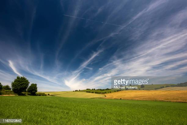 agricultural fields in trelleck, south wales - farm stock pictures, royalty-free photos & images