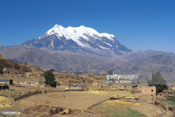 Agricultural landscape around La Paz with the Illimani in the background Bolivia