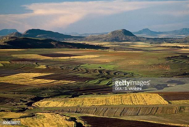 Agricultural landscape in the Maseru district, Lesotho.