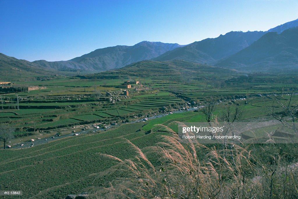 'Agricultural landscape near Murghazar, Swat, North West Frontier Province, Pakistan, Asia' : Foto de stock
