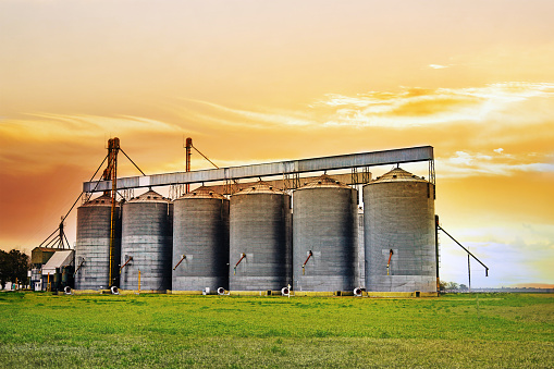 Agricultural Silos at Sunset - gettyimageskorea