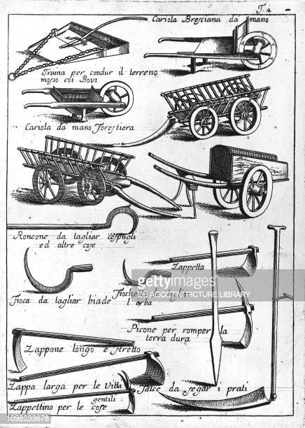Agricultural tools and machines engraving from an agricultural treaty Italy 18th century