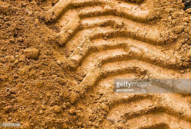 agricultural tyre track - track imprint stock photos and pictures