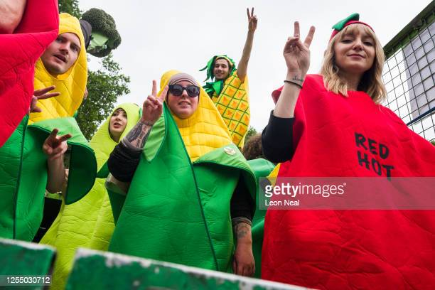 Agricultural workers and farmers demonstrate outside the Houses of Parliament as they call for protection for the British farming industry and the...