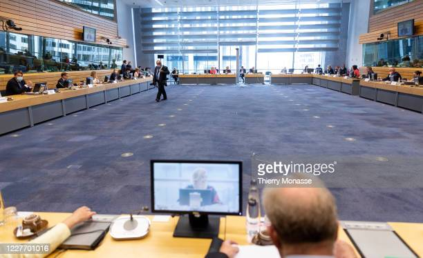Agriculture and fischeries Ministers attend an EU agriculture and fisheries ministers council in the Lex building on July 20, 2020 in Brussels,...