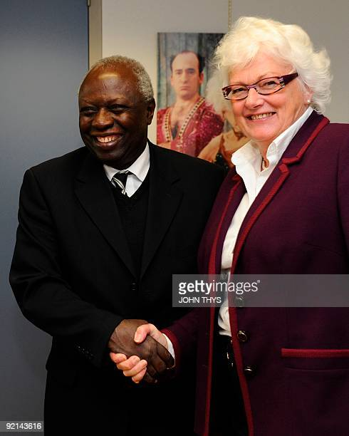 EU agriculture commissioner Mariann Fischer Boel welcomes Food and Agriculture Organization head Jacques Diouf on October 21 2009 before their...