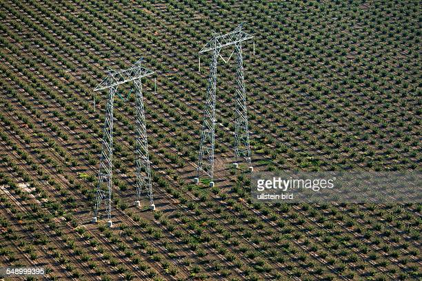 Agriculture in the Central Valley, transmission towers .
