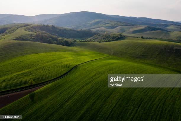 landbouw land drone bekijk - hungary stockfoto's en -beelden