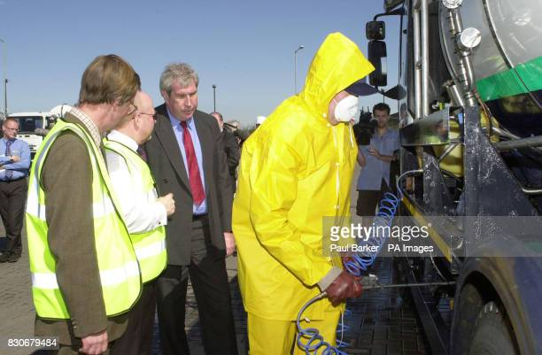 Agriculture Minister Elliot Morley watches a milk tanker being disinfected at the Zenith Milk distribution centre near Thirsk North Yorkshire as part...