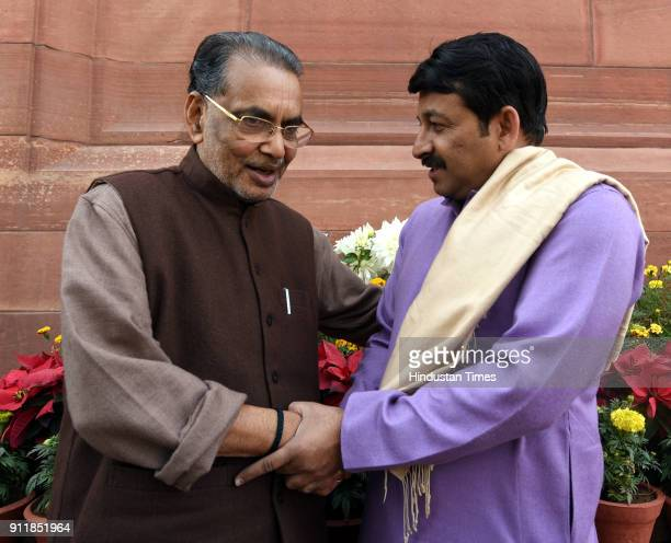 Agriculture minister Radha Mohan Singh with BJP Lok Sabha MP and Delhi BJP President Manoj Tiwari after attending the 2018 Parliament Budget Session...