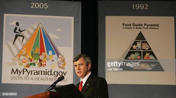 Agriculture Secretary Mike Johanns speaks during the unveiling of the MyPyramid a new symbol and interactive food guidance system that replaces the...