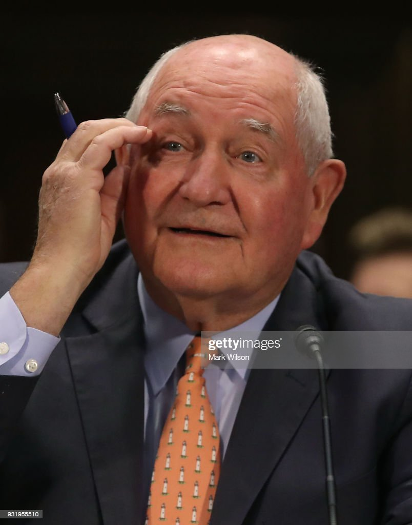 Agriculture Secretary Sonny Perdue appears before the Senate Commerce, Science and Transportation Committee, on March 14, 2018 in Washington, DC. The committee is hearing testimony on President Donald Trumps's plan to rebuld the nations infrastructure.