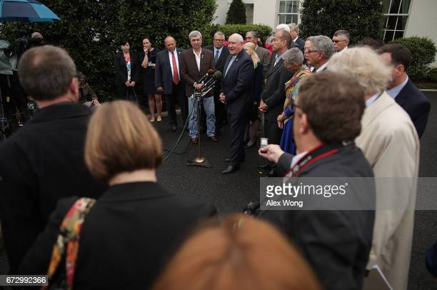 S Agriculture Secretary Sonny Perdue speaks to members of the media outside the West Wing of the White House after a Roosevelt Room event April 25...