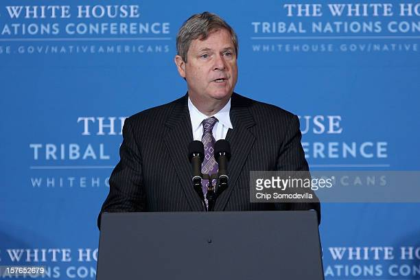 Agriculture Secretary Tom Vilsack addresses the White House Tribal Nations Conference at the Department of Interior December 5 2012 in Washington DC...