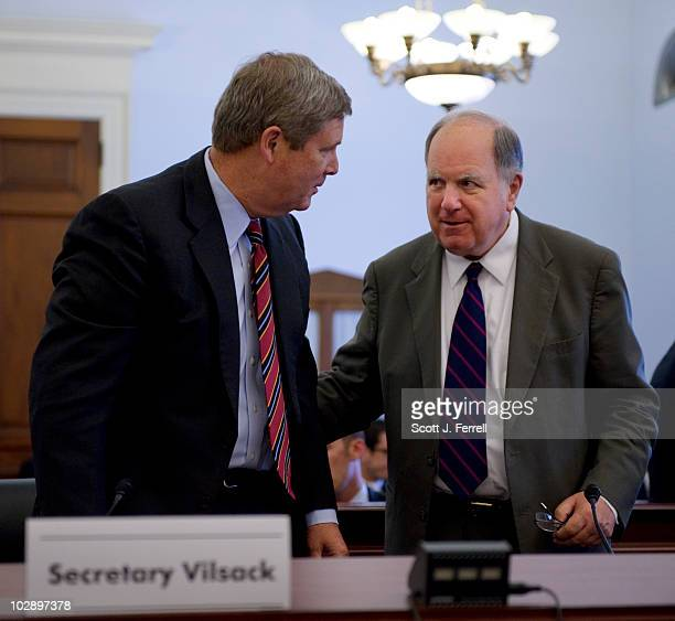 July 14: U.S. Agriculture Secretary Tom Vilsack and Chairman John M. Spratt Jr., D-S.C., during a break in the House Budget hearing on the impact of...