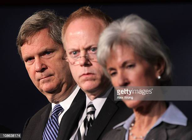 US Agriculture Secretary Tom Vilsack Deputy Director of USDA's Center for Nutrition Policy and Promotion Robert Post Secretary of Health and Human...