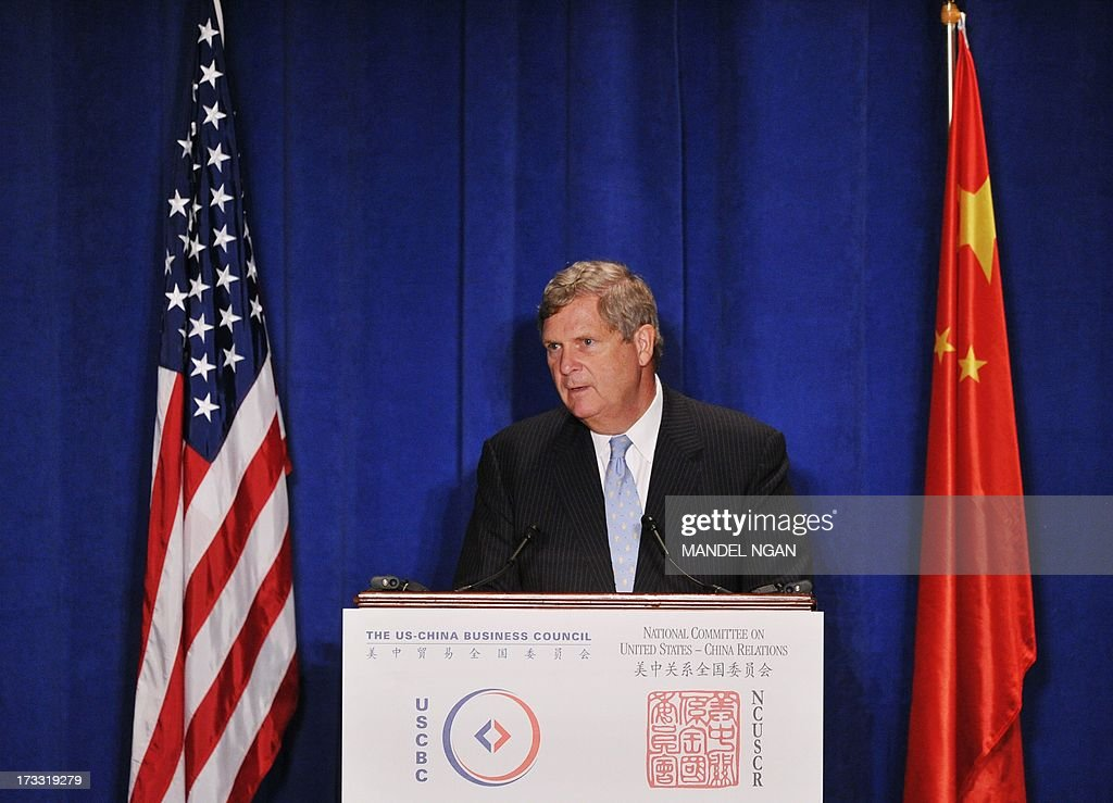 Agriculture Secretary Tom Vilsack speaks at a dinner hosted by the US-China Business Council (USCBC) and National Committee on US-China Relations (NCUSCR) on July 11, 2013 at a hotel in Washington, DC. AFP PHOTO/Mandel NGAN