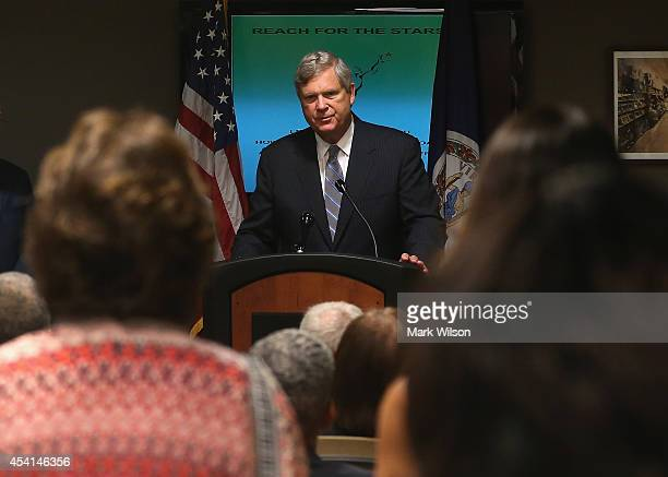 Agriculture Secretary Tom Vilsack speaks during a visit to the Arlington Employment Center August 25 2014 in Arlington Virginia Sec Vilsack announced...
