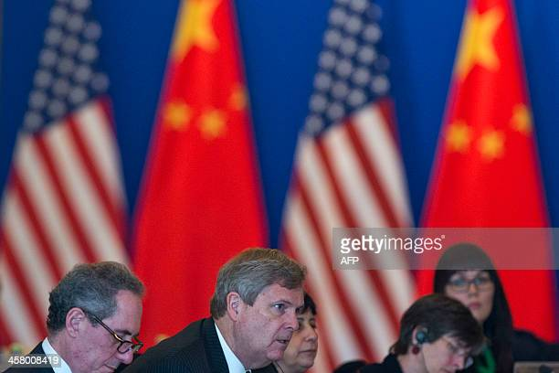 US Agriculture Secretary Tom Vilsack speaks during the opening meeting session of the 24th ChinaUS Joint Commission on Commerce and Trade held at...