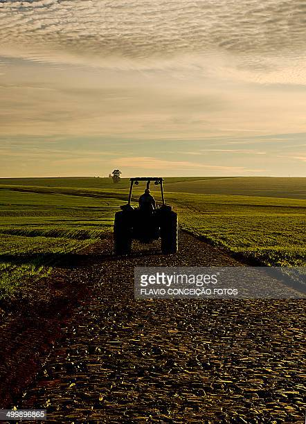 agriculture tractor and road