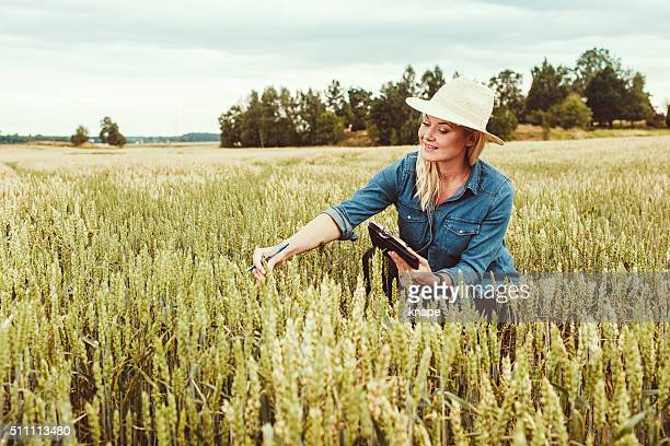 Agriculture worker researching